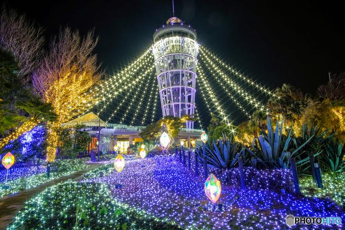 江の島サムエル・コッキング苑をメイン会場とした「湘南の宝石」は、関東三大イルミネーションのひとつ。中でもシーキャンドル周辺は、きらびやかな光に包まれた幻想的な雰囲気を楽しめます。毎年11月後半~翌2月中旬頃まで開催しているので、ぜひ足を運んでみてくださいね。