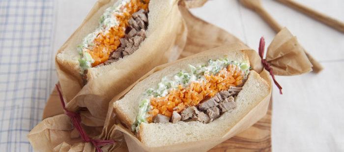 にんじんが色鮮やかなサンドイッチ。ブロッコリーをクリームチーズで和えることで、食べやすくしています。自家製ツナで、贅沢なサンドイッチに。