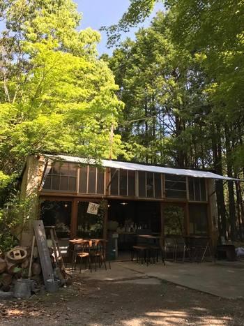 カフェの隣にある「森のfumo」。土日のみオープンし、スタッフが手作りした窯で自家製のピザを焼いて提供しています。  元々、古いガレージだった所を、大工さんとスタッフ達で野外店舗として作り上げたそうです。  自然を肌で感じられるテラス席は、これからの季節最高ですよ。ワンちゃん連れもOK。お庭や森をお散歩したり、愛犬と一緒にのんびりするのもいいですね。