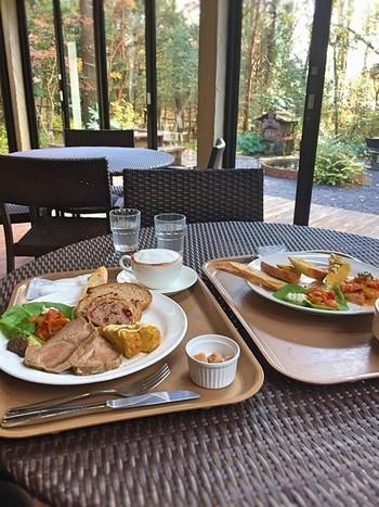 カフェコーナーもあるので、ランチを楽しむのも素敵です。お庭の緑を眺めながら、贅沢な時間を過ごせそう。