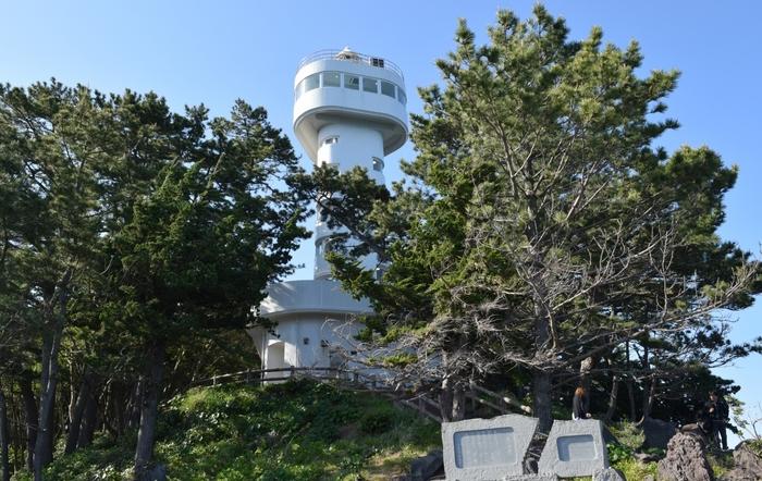吊り橋の先には灯台があります。灯台の展望台からは、城ケ崎のダイナミックな海岸線を一望することが可能です。天気が良ければ、遠くの景色まで気持ちよく見渡せそう。