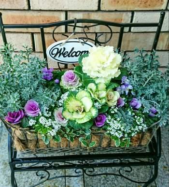 玄関前や、玄関への階段に明るい花の鉢などを置くと、とてもおうちの印象が素敵になりますね。お客様へのウェルカムの気持ちも伝わりそう。