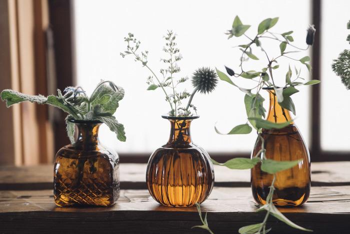 数種類の植物を活けたいときは、花瓶もデザインに少し変化のあるものを選ぶと、繊細な植物と歩幅感覚が合ってくると思いませんか?ちょっとの工夫でとっても素敵なレイアウトに。