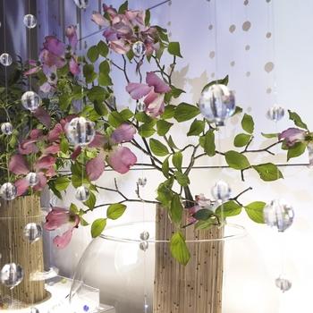窓辺の植物と組み合わせれば、より華やかな雰囲気に。花もサンキャッチャーも、シンプルな色合いを選べば、お互いが主張し過ぎずに相乗効果でよりお部屋が素敵になりそう。