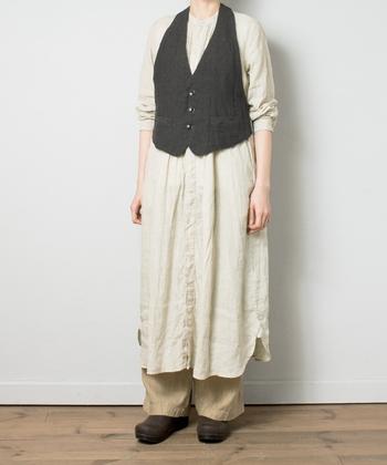 ヴィンテージのドレスシャツからインスパイアを受け、リネン素材で作られたシャツワンピースです。ランダムに並んだピンタックが、一枚で着てもこなれ感たっぷりな印象に。