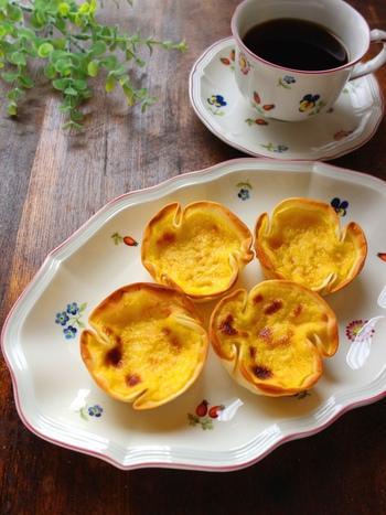 餃子の皮で簡単に作れる、エッグタルト。手でつまめるのでピクニックのおやつやデザートにもおすすめです。バニラオイルのほんのりとした甘い香りが、子どもにも大人気♪