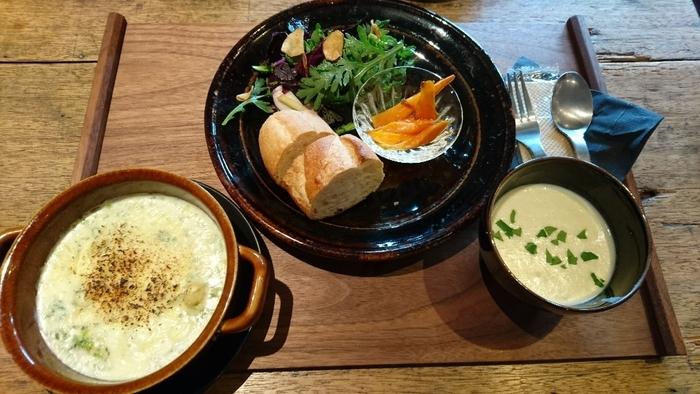 ある日のランチは、カキのグラタンと春菊のサラダ。素朴で身体に沁みるような、すこやかなご飯です。食事は事前に予約をした方が確実ですよ。