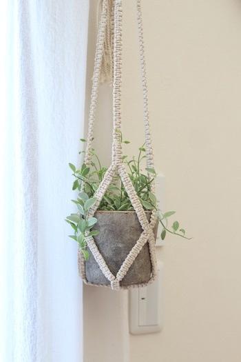 ハンギングするアイデアも素敵。インテリアグリーンを下から見上げることで、立体的に植物の美しさを楽しめます。  ハンギングプランターは、天井や壁、長押や鴨居、梁などに吊るすのが一般的です。耐荷重を確認して、安全に取り入れられる場所で試してみては。