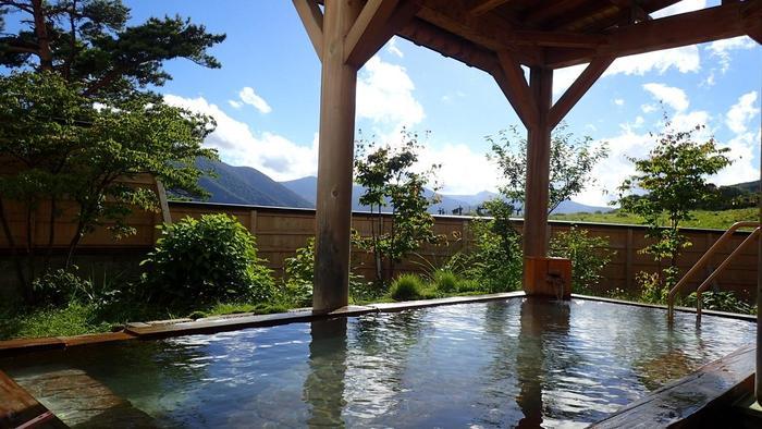 ここに湯治場が開かれた時の名前、大釈温泉が名前の由来の「大釈の湯」。男女とも内風呂と露天風呂があって、露天風呂からは雫石の田園風景や奥羽山の山々が一望できます。露天・内風呂ともに白っぽく見えるにごり湯です。