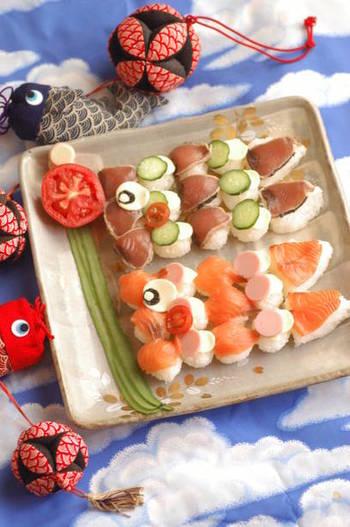 一口サイズのてまり寿司を並べて、こいのぼり風に。みんなで集まるパーティーメニューにぴったりですね。