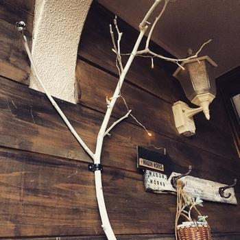 形の良い大ぶりの枝にはLEDケーブルライトを巻きつけてみましょう。  壁面に取り付ければ、ほんのり明るい間接照明になり、リラックスムード満点。