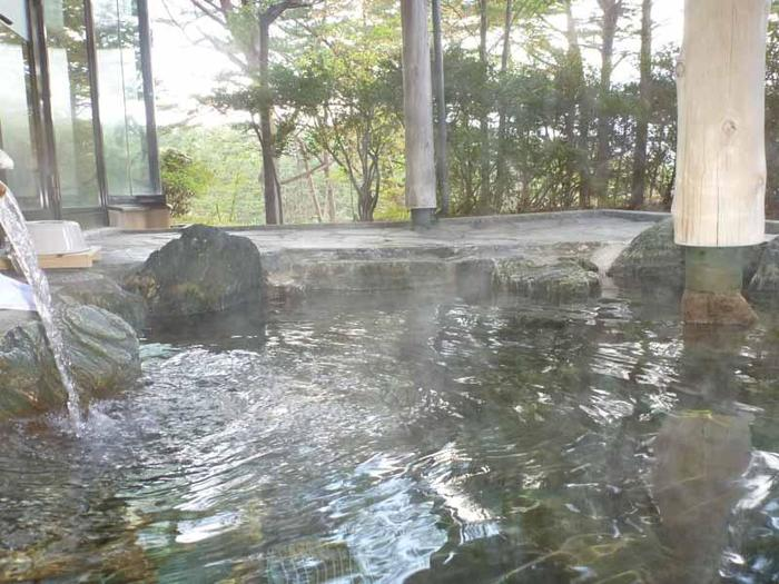 気持ちのいい露天風呂の前に立つ赤松の向こう側には「浄土ヶ浜」の景色が広がっています。