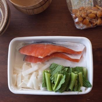 例えば翌朝の朝ご飯のセットを前夜に準備して冷蔵庫で保存しておけば、翌朝、時短になりとっても便利。