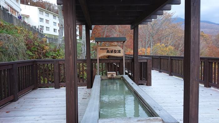 本館玄関前にある展望デッキから階段を下ったところにある、網張五湯のひとつ、「鹿追足湯」。足湯につかりながら、ゆったりとくつろぐことができます。冬期は休業するので、ご注意を。