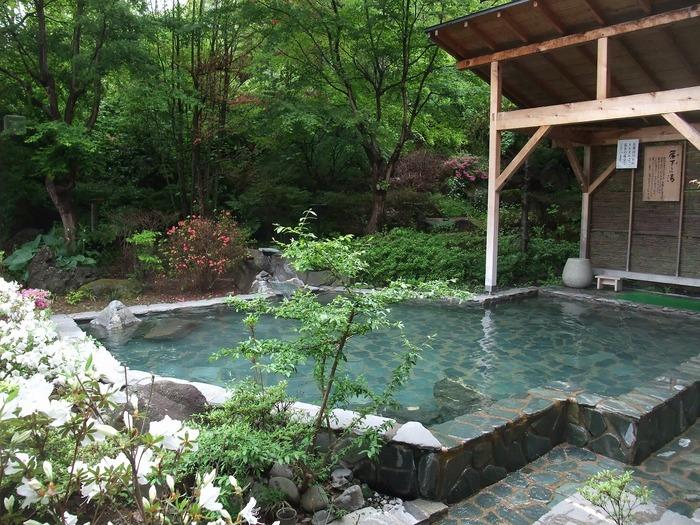 こちらは男性用の露天風呂「簾下りの湯」。その昔南部藩主が簾を下して入浴されていたと言われています。きれいに整えられた庭園の中の向こうには岩手山が見えて絶景です。