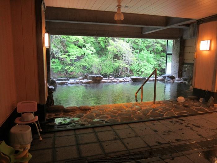 日帰り入浴ができる半露天風呂「豊沢の湯」です。美しい豊沢川の景色を眺めながら名湯につかることができます。春から秋はガラス戸が開放された半露天となり、冬期はガラスが入り内風呂になります。