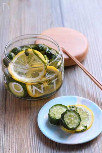 干してほどよく水分が抜けたきゅうりを、浅漬けのもとと水、レモン、大葉が入った漬け汁にひと晩漬ければ、翌朝、さっぱりとした食感の良い美味しい漬物に。