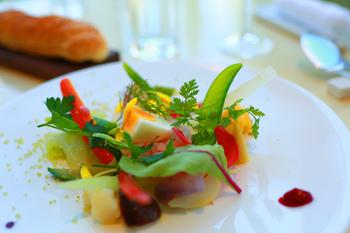 白いお皿の余白を上手に使った前菜サラダは、すこしずついろいろな食材を使った技ありサラダです。食材の数が多いと、より立体的に見えますね。