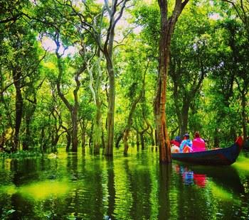 トレンサップ湖は東南アジア最大の湖で、雨季と乾季では大きく水位と広さが変わります。  ここでは遺跡だけではないカンボジアの、水上生活者の日常が垣間見られます。  現在でも100万人ほどいると言われている水上生活者の生活は、見たこともない世界です。  また小舟に乗って湖の密林を抜けることもでき、そこには幻想的な世界が広がっています。