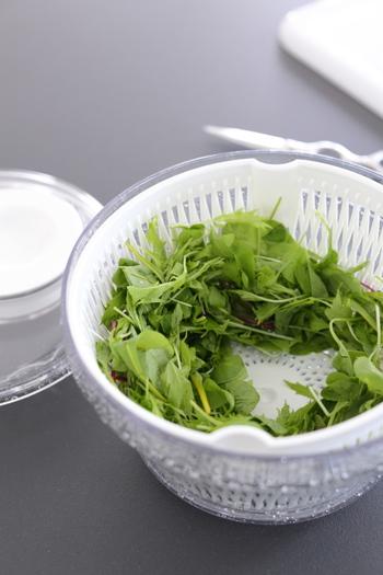 葉物野菜をたっぷり使いたいときには、ぜひ水切りをしっかりと行うようにしましょう。サラダスピナーなどを使うと、短時間でもしっかり水切りできます。