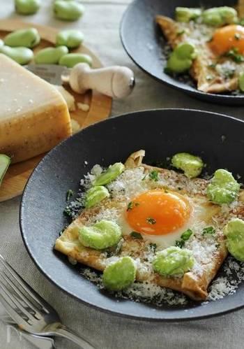 卵と生ハムのガレットに、素揚げしたそら豆と、おろしたパルミジャーノとみじん切りにしたパセリをトッピングして作る「そら豆と卵とパルミジャーノのそば粉ガレット」。シンプルなトッピングなのに、散らされたそら豆も可愛らしく、テーブルが華やかになりそう。