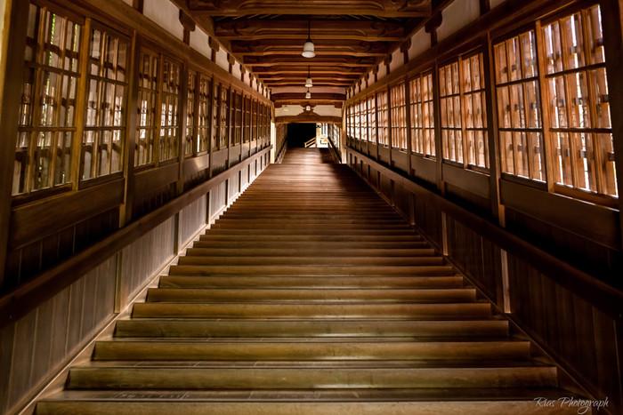 七つの建物を結ぶ回廊は、永平寺の見所の一つ。毎朝ぴかぴかに磨き込まれるので、美しいツヤが出ているほどなんです。思わず写真に収めたくなる光景ですよ。