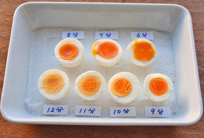 茹で卵の茹で時間は、分刻みで状態が変わってきますので、お好みの加減を探してみてください。茹で上がったらすぐに冷やして、殻を剥きましょう。ヒビを多めに入れて、水の中や流水に当てながら剥くとキレイに殻が取れやすいですよ♪  また、半熟の卵を切るときには、糸を使うと切りやすいのだそう。半熟の煮卵を切るときにも参考にしてみてくださいね。