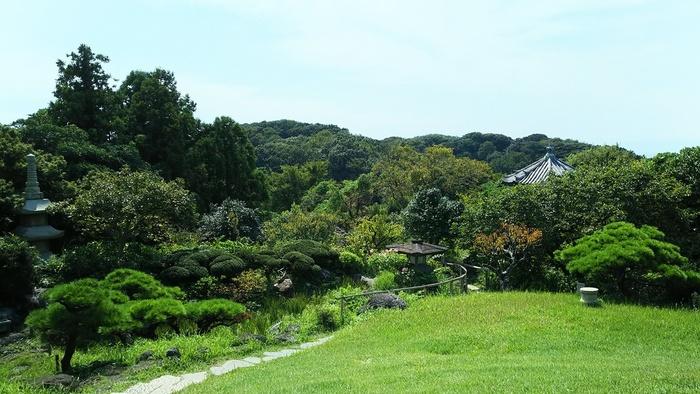 鎌倉山にある会席料理のお店「擂亭(らいてい)」。  「擂亭」が位置するのは、5万平方メートルの広大な庭園の中なんです!緑多く、季節の草花が楽しめる庭園は、もちろん散策可能。風情ある竹林や梅林の他、石仏や石塔、五重塔や八角堂、遊歩道などが配されています。