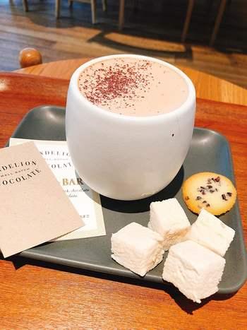 濃厚なホットチョコレートをはじめ、カカオの産地が違うブラウニーの食べ比べなど、本格的なチョコ好きさんも唸るメニューがたくさん。