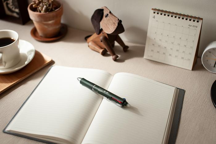 こちらは、書いた文字を簡単に消せるという不思議なボールペン。特殊なインクと、ペンの上部にある小さな白い突起に秘密があります。
