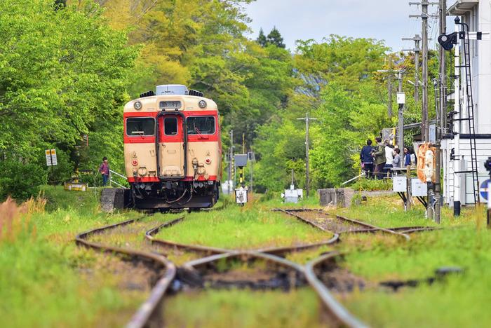 昭和の国鉄型車両キハ28やムーミン列車の車内テーブル席で食事しながら電車旅を楽しめる週末限定グルメ列車のレストラン・キハ。