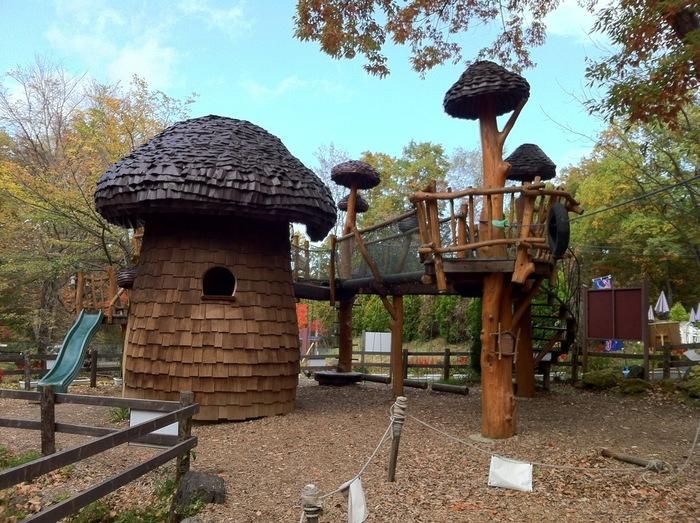 敷地内には軽井沢おもちゃ王国も併設。軽井沢を見渡せる観覧車などのアトラクション、自然の中で体を動かせるアスレチックなどがあります。