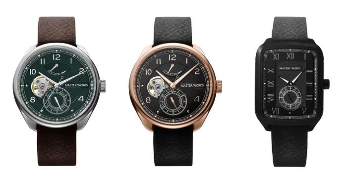 """『マスターワークス』の人気モデル「Quattro(クアトロ)/ 001」と新作モデル「Quadrangle(クアドラングル)」にTiCTAC別注カラーがお目見え。 """"2019SS Collection Fair""""と題して、トレンドカラーであるグリーンのフェイス(左)とピンクゴールドが映える大人ブラック(中央)、ホワイトの針がアクセントになったオールブラック(右)の3タイプが登場します。 どれも限定生産のアイテムなので、お早めに!"""