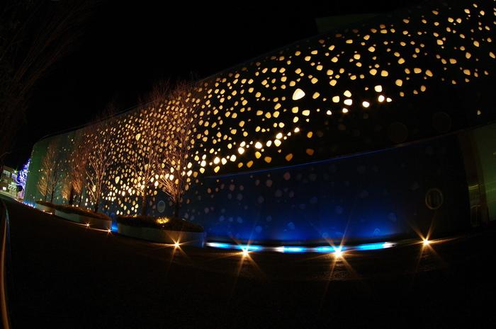 夜には、館内の明かりが外へ漏れ出し、美しい光の泡がお目見えします。昼と夜とで、見え方が異なってくるところも、素敵な演出ですよね。  劇場ホールを除き、館内見学は自由に行えますので、ぜひ訪れてみてください。