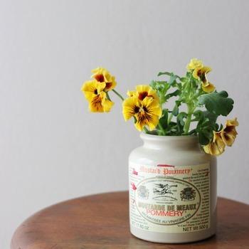 食べ終わっても捨て難いような可愛いジャムや素敵なスパイスの空き瓶があれば、ぜひ花瓶代わりに。アンティーク家具との相性も良く、パンジーやビオラなど、ちょっと懐かしさを感じるような丈の短いお花が似合います。
