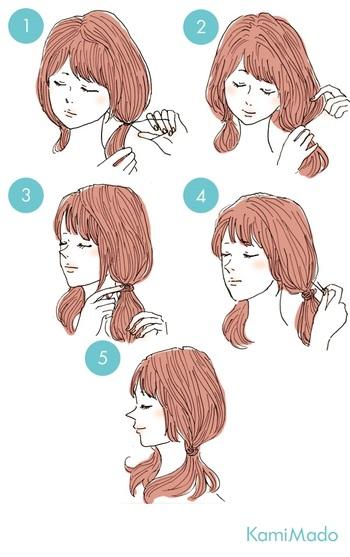 大人っぽいツインテールの作り方のポイントは、結び目の位置を下げることと、結んだ髪を部分的に引き出してゆるっと感をプラスすることです。 イラストのように、ゴムを髪で隠すとナチュラルで今っぽく仕上がります。