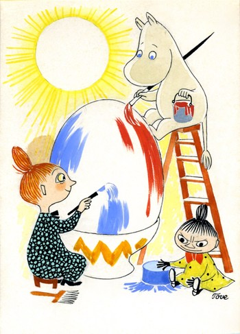 トーベ・ヤンソン≪イースターカード 原画≫ 1950年代 グワッシュ、インク・紙  ムーミンキャラクターズ社 ©Moomin Characters ™