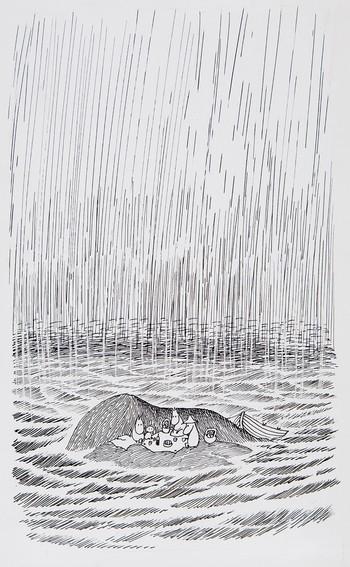 トーベ・ヤンソン≪「ムーミンパパ海へいく」挿絵≫ 1965年、インク・紙  ムーミン美術館 ©Moomin Characters ™  ※本画像には、日本の浮世絵の雨を連想させる描写があります