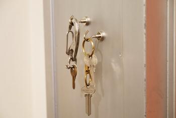 スチール棚などにペタっと付けられるマグネットのフックです。鍵を掛ければお出かけグッズの整理に一役買ってくれます。