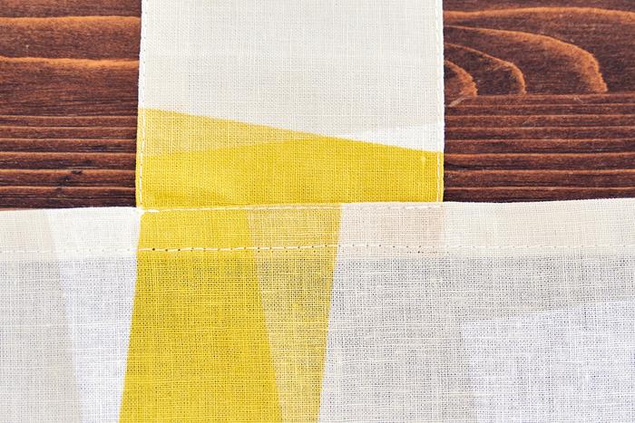 (3)で縫った肩ひもを上に上げ、表から端をミシンで縫います。