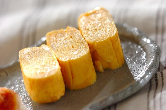 こちらは、甘酒を使った卵焼き。甘酒の優しい甘みがだしのうまみを引き立て、上品な味わいに仕上がります。ふっくらとふくよかなおいしさを楽しみましょう。