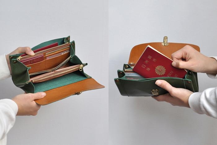 持つ人の手にしっかり収まるカタチ。あったらいいな...みたいな些細な希望も拾ってくれるデザイン。素朴でありながら、クラッチバッグ並みの収納力を持つ多機能な長財布は、1度触れると、もう手放せなくなってしまいそうです。