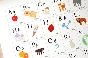 小さいうちからアルファベットに触れておくと、文字としての認識能力がアップします。英語には大文字と小文字があることも自然にわかるようになります。