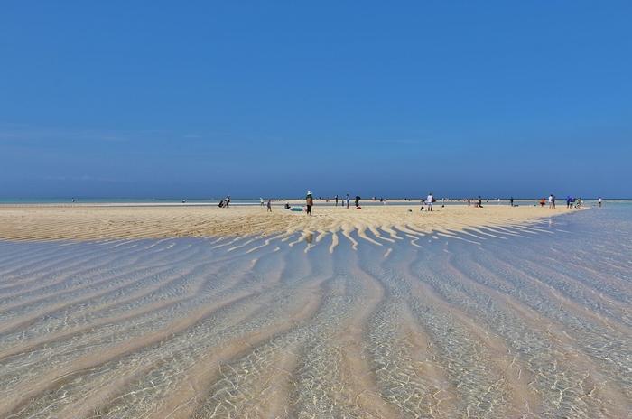 """大金久海岸の沖合に浮かぶ、真っ白な砂浜の「百合ヶ浜」。約1.5kmの小さな浜ですが、この浜はいつでも見られるわけではありません。春から夏にかけて(3月~10月頃)まで、中潮から大潮の干潮時だけに姿を現すのです。少しの期間と時間にだけ見られることから""""幻の島""""とも呼ばれます。 百合ヶ浜には、グラスボートに乗って向かいます。底まで見通せる透明度の高さと、穏やかに揺れる水面にうっとりとしてしまいますよ。「年齢の数だけ星砂を拾えば幸せになれる」とも言い伝えられています。"""