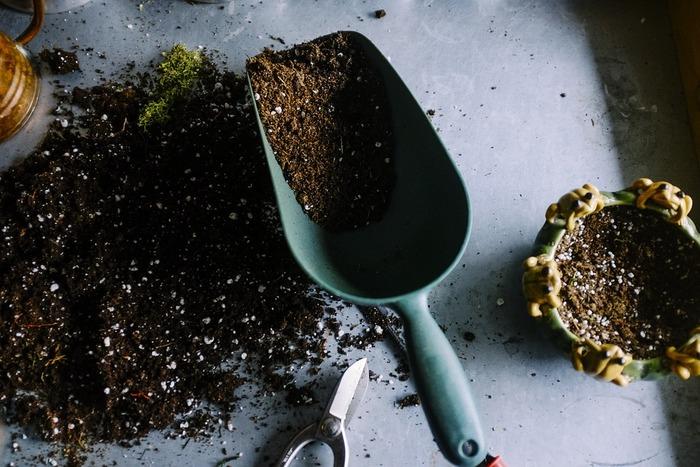 """コンテナ栽培に欠かせないのが土。初心者向けには、予め肥料がブレンドされた""""花と野菜の土""""のような名前で販売されている元肥入りの「園芸用培養土」で十分育ちます。"""