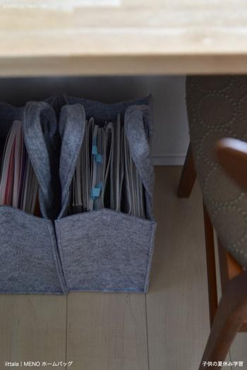 例えば、こちらのお宅のように学用品は小さなバッグひとつにまとめてしまう。  このバッグのなかに、勉強に必要最低限のものが入っていれば、家じゅうどこで勉強しても「モノの定位置」がはっきりして片付けしやすくなります。