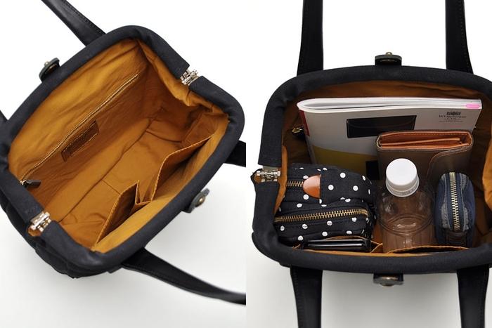 昔懐かしいドクターズバッグをイメージソースにしたトートバッグ。口がガバッと大きく開く構造のおかげで、モノの出し入れが驚くほど楽々!中に何が入っているのか管理しやすいので、普段仕様のバッグとしてかなり重宝しそうです。前出のベージュのトートは、色違いのもの。革の持ち手がしっとりと大人っぽく、デザインも洒落ています。