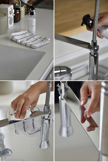 水回りには、コーティング剤を使うのがおすすめ。きれいになった状態でコーティング剤を使えば、蛇口やシンク、洗面台などをピカピカの状態にキープすることができます。こちらのコーティング剤は水回りだけでなく、IHコンロや窓ガラス、鏡などにも使用することができます。