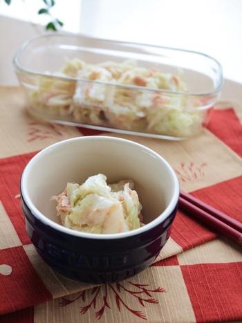 こちらは、白菜とツナの漬物レシピです。顆粒だしと塩があればOK。ツナは缶に入った油ごと加えましょう。冷蔵庫で一晩以上置いたら完成♪洋風の献立の小鉢メニューなどにもぜひ使ってみてくださいね。