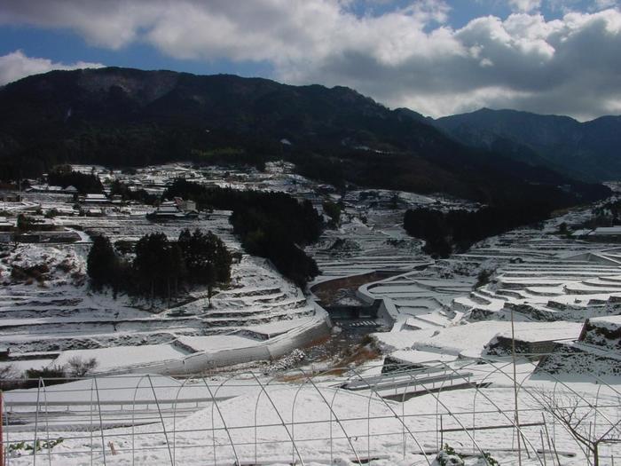 愛媛県東温市の白糸の滝は「皿ヶ嶺連峰県立自然公園」にあり、落差20メートル、美しく優雅な姿の滝として知られています。春は新緑、夏は心地よい渓流の水と、爽やかな風、秋には紅葉、そして冬には滝が凍結し、荘厳な美しさを見せてくれます。 滝までは、少し急な登山道がありますが、15分ほどで到着。途中で見える田園風景は、田植えの時期には、一面が、まるで緑のじゅうたんに覆われ、雪の季節には、一面真っ白!白銀の世界が広がります。